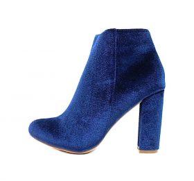 Liliana Kenzy-4 Blue Velvet Round Toe Dress bootie-0