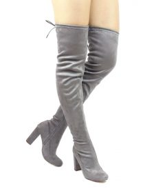 Liliana Kenzy-6 Grey Thigh High Round Toe Chunky Heel Boot-0