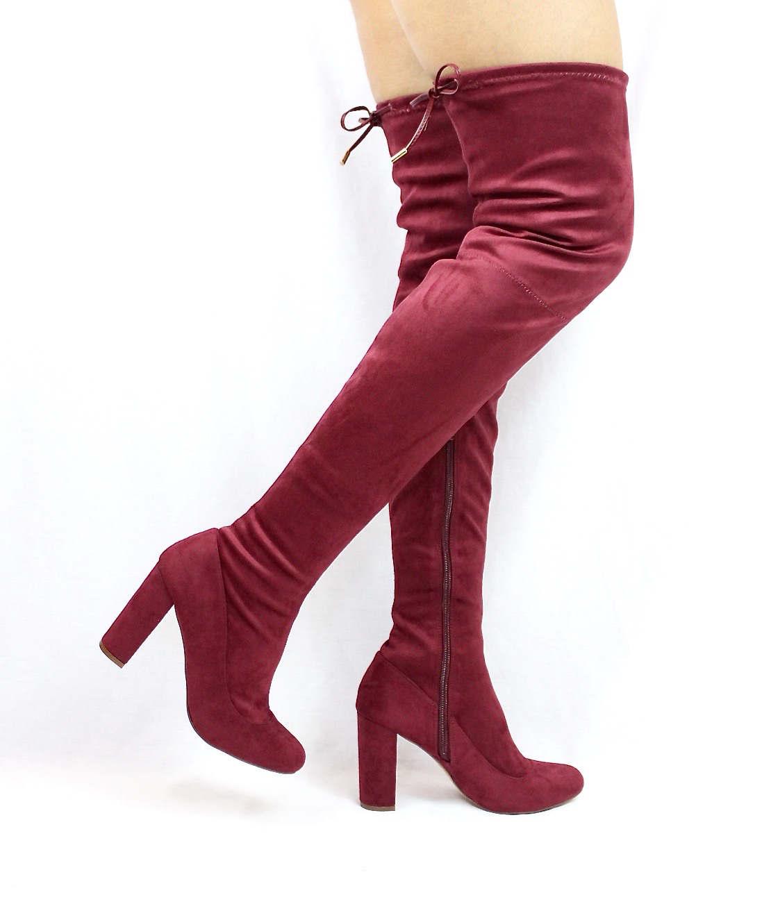 Liliana Kenzy-6 Wine Thigh High Round Toe Chunky Heel Boot-3945