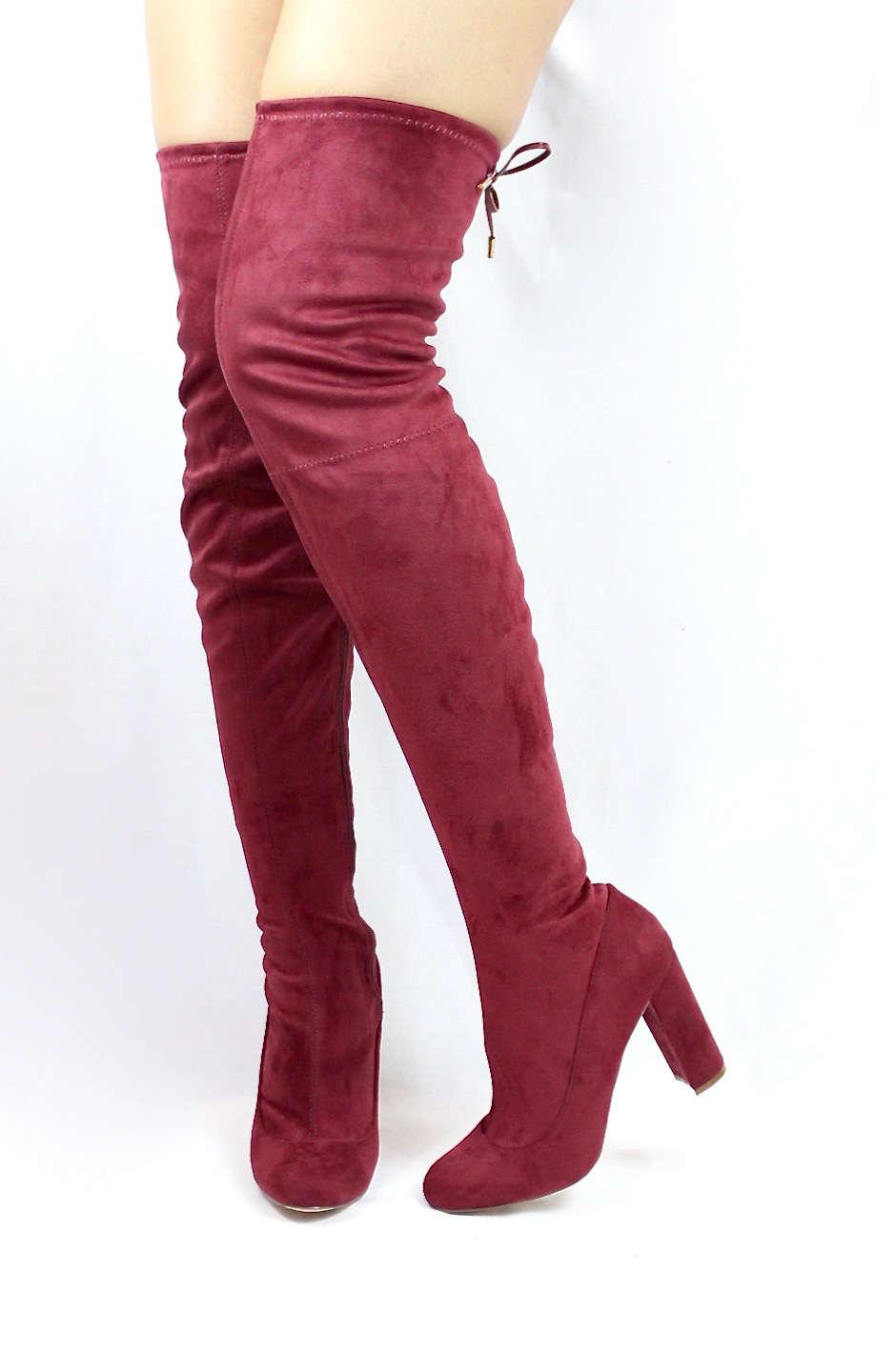 Liliana Kenzy-6 Wine Thigh High Round Toe Chunky Heel Boot-3946