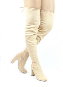 Liliana Kenzy-6 Nude Thigh High Round Toe Chunky Heel Boot-0