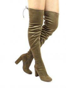 Liliana Kenzy-6 Olive Thigh High Round Toe Chunky Heel Boot-0
