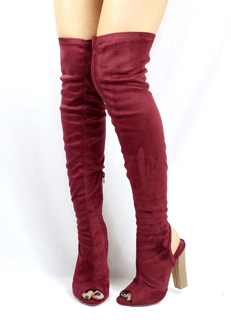 d4fad9d12da7 Shoe Republic Kris Wine Open Toe Cut Out Thigh High Chunky Heel Boots-3900