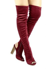 Shoe Republic Kris Wine Open Toe Cut Out Thigh High Chunky Heel Boots-0
