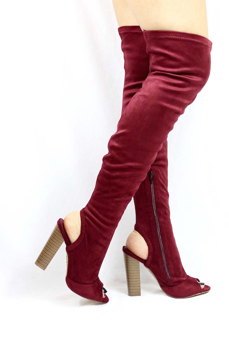 fd04adcee007 Shoe Republic Kris Wine Open Toe Cut Out Thigh High Chunky Heel Boots-3902
