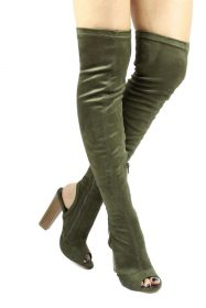 Shoe Republic Kris Olive Open Toe Cut Out Thigh High Chunky Heel Boots-0