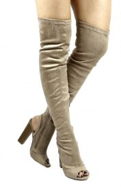 Shoe Republic Kris Taupe Open Toe Cut Out Thigh High Chunky Heel Boots-0