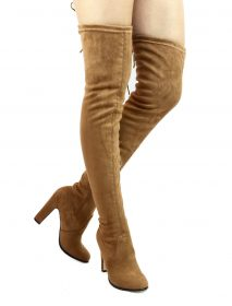 Cape Robin Mona-1 Camel Thigh High Chunky Heel Round Toe Boot-0