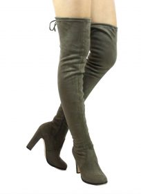 Cape Robin Mona-1 Olive Thigh High Chunky Heel Boot-0