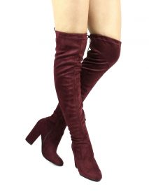 Nia Wine Thigh High Round Toe Chunky Heel Boot-0