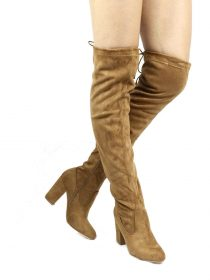 Nia Camel Thigh High Round Toe Chunky Heel Boot-0