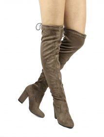 Nia Taupe Suede Thigh High Round Toe Chunky Heel Boot-0