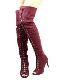 Dollhouse Burgundy onelove-61 Open Toe Lace Up Thigh High Boots-0
