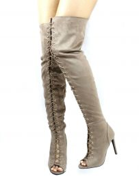 Dollhouse Taupe onelove-61 Open Toe Lace Up Thigh High Stiletto Heel Boots-0