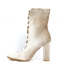 Sheila Taupe Velvet Ankle Lace Up Chunky Heel Bootie-0