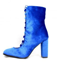 Sheila Royal Blue Velvet Ankle Lace Up Chunky Heel Bootie-0
