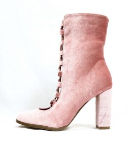 Sheila Pink Velvet Ankle Lace Up Chunky Heel Bootie-0