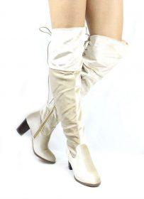 Steve Beige Velvet Round Toe Stacked High Heel Boot-0