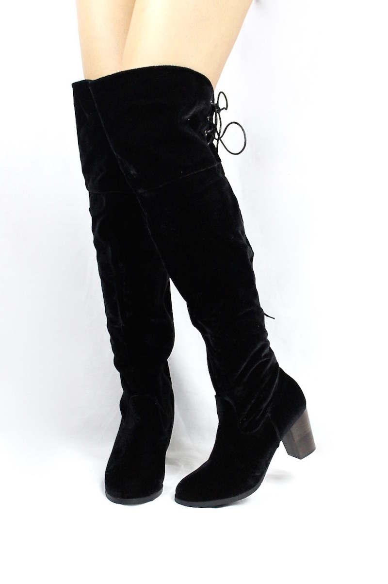 Steve Black Velvet Round Toe Stacked High Heel Boot-3546