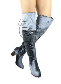 Steve Grey Velvet Round Toe Stacked High Heel Boot-0