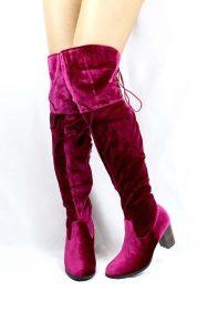 Steve Wine Velvet Round Toe Stacked High Heel Boot-3534