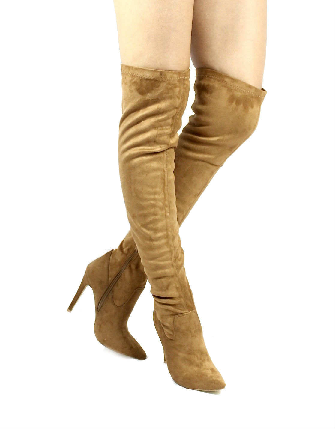 8659bd00d3e Pointy Toe Stiletto Heel Over The Knee Camel Thigh High Dress Boots-0