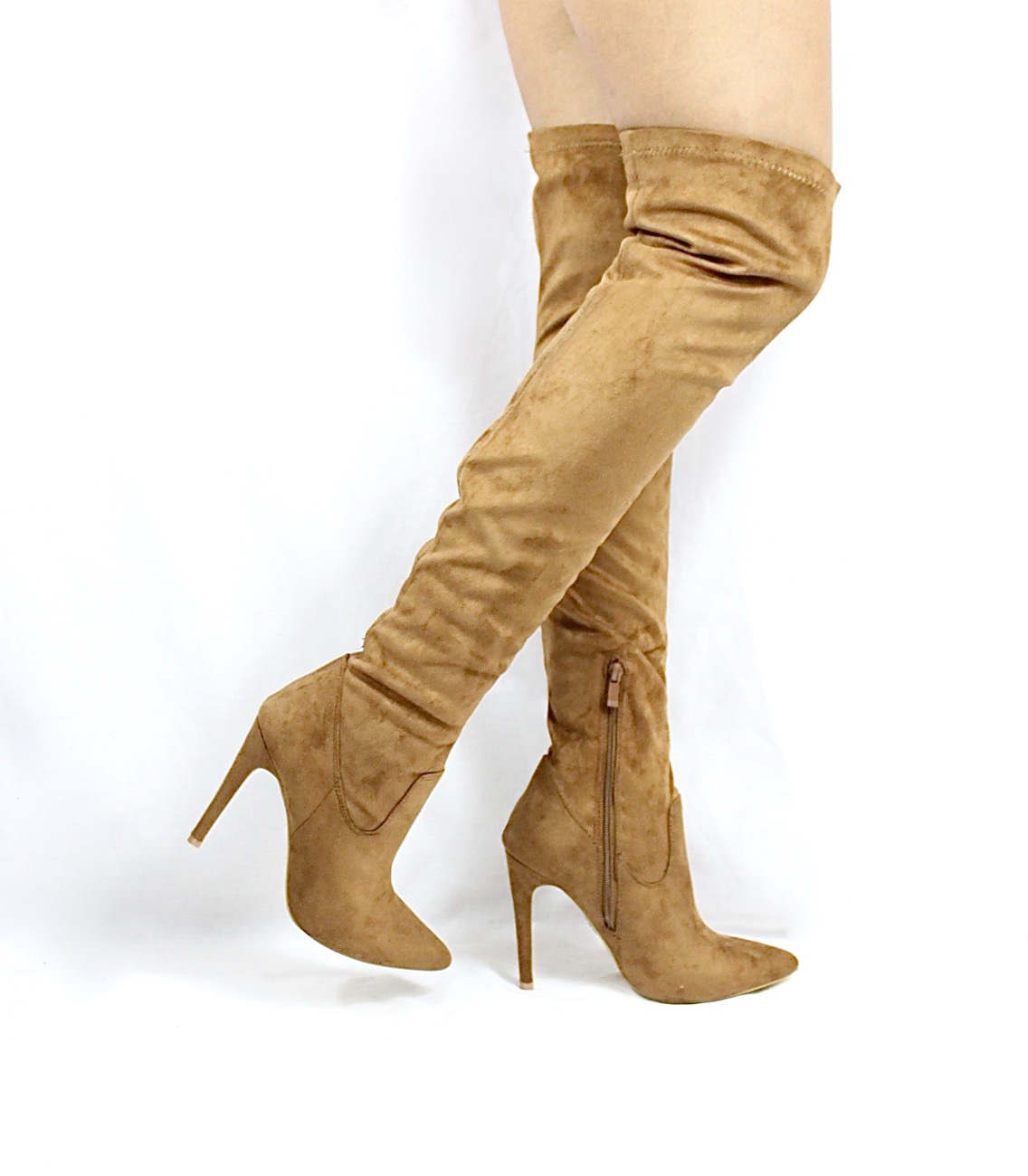 Pointy Toe Stiletto Heel Over The Knee Camel Thigh High Dress Boots-3553