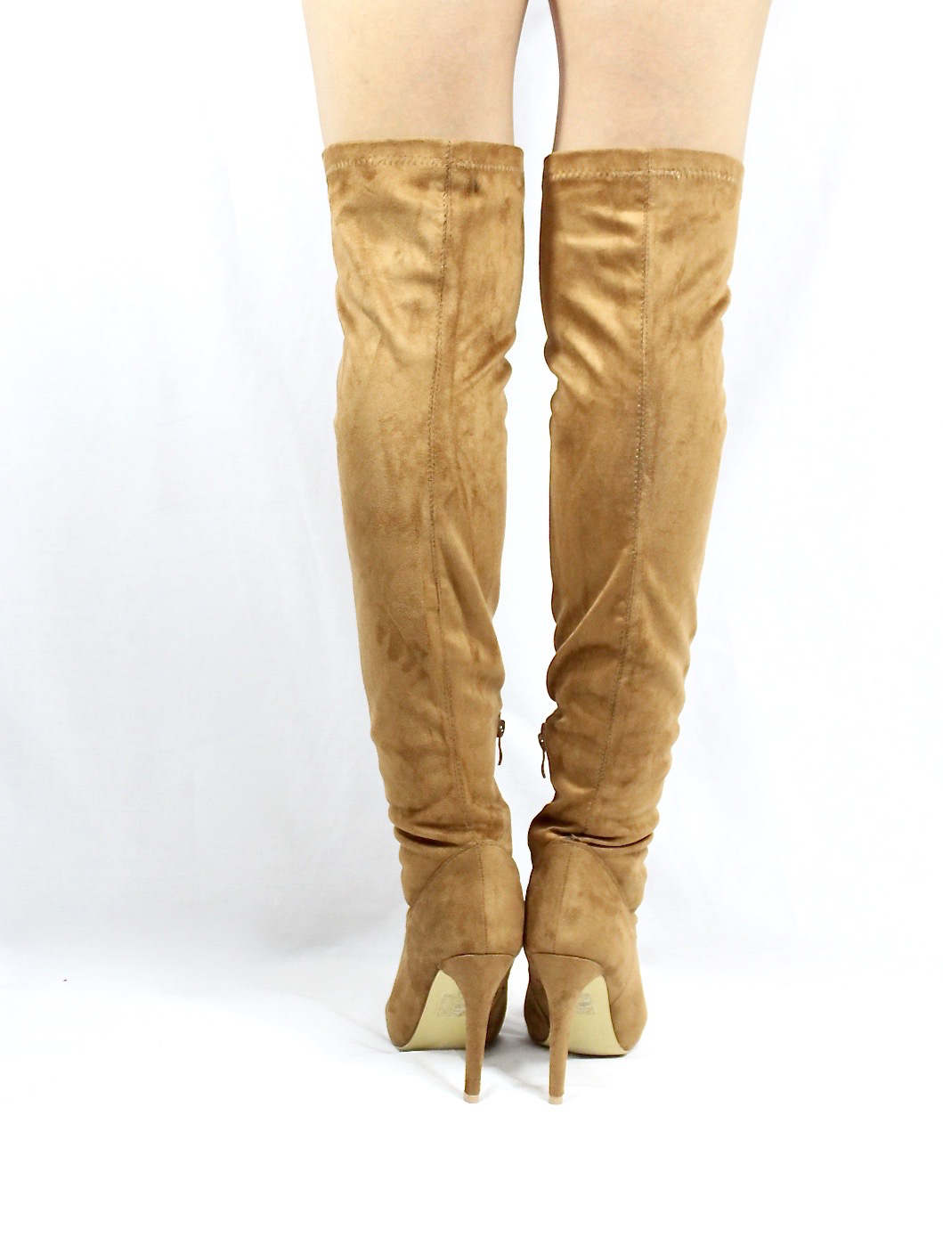 Pointy Toe Stiletto Heel Over The Knee Camel Thigh High Dress Boots-3555