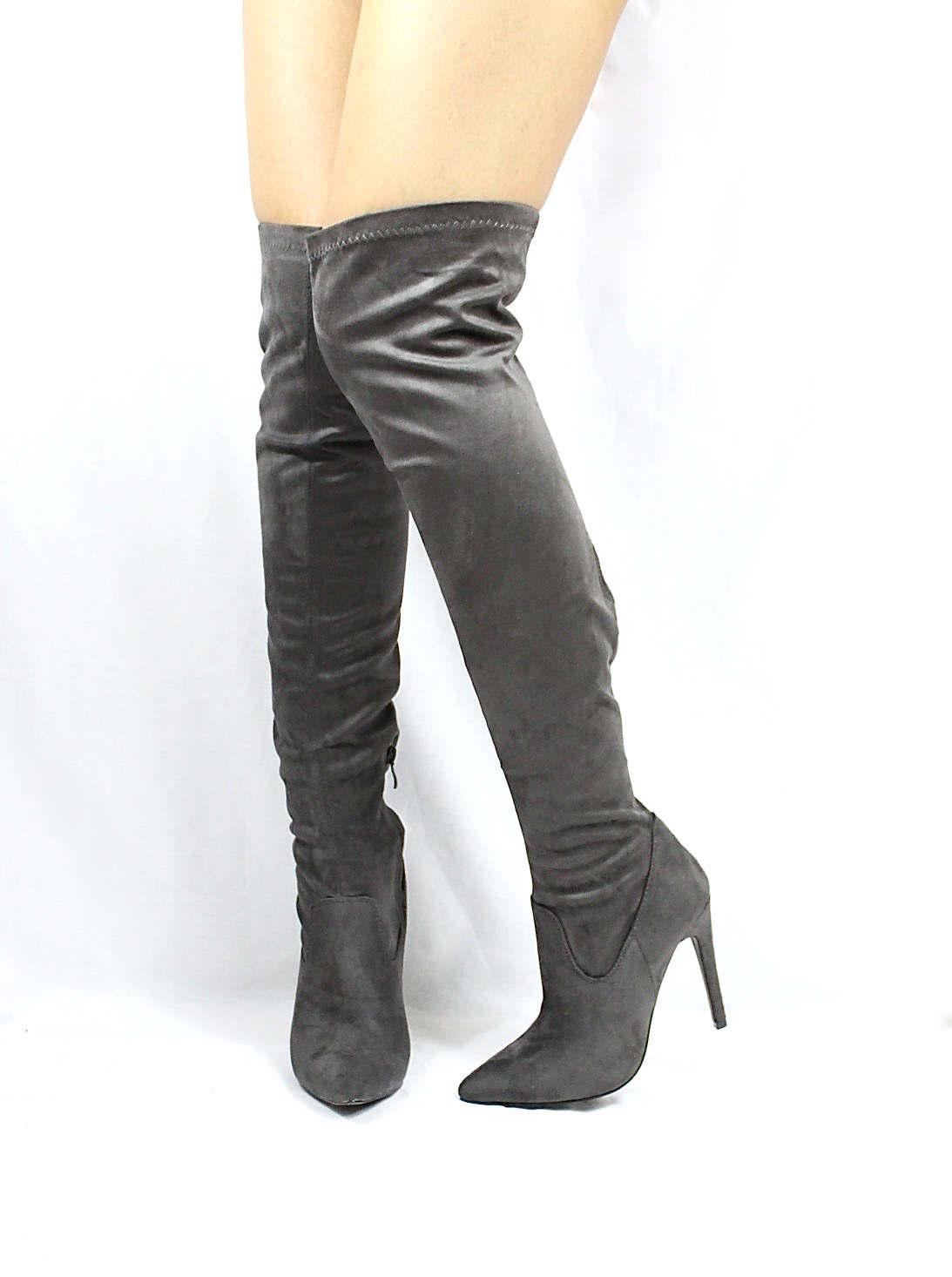 Pointy Toe Stiletto Heel Over The Knee Grey Thigh High Dress Boots-3557