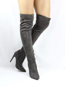 Pointy Toe Stiletto Heel Over The Knee Grey Thigh High Dress Boots-0