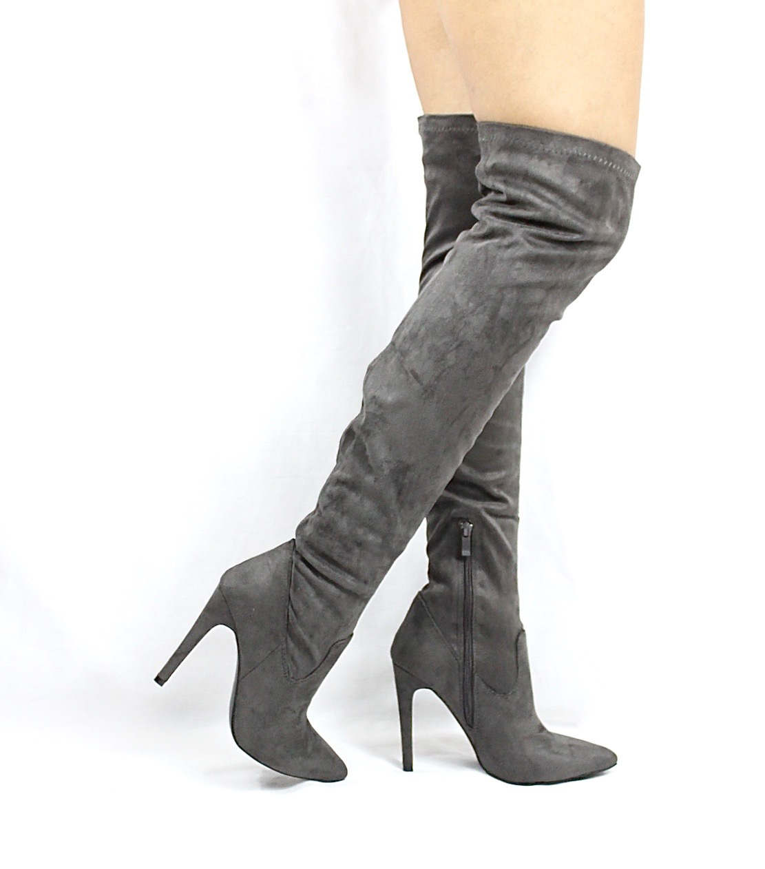 Pointy Toe Stiletto Heel Over The Knee Grey Thigh High Dress Boots-3560