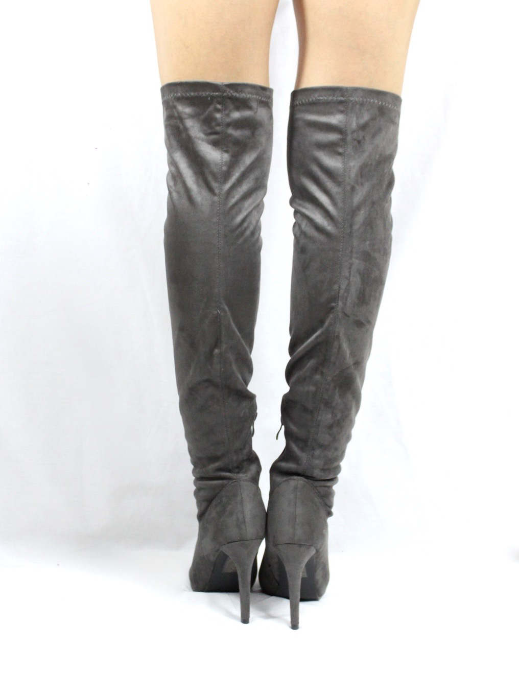 Pointy Toe Stiletto Heel Over The Knee Grey Thigh High Dress Boots-3558