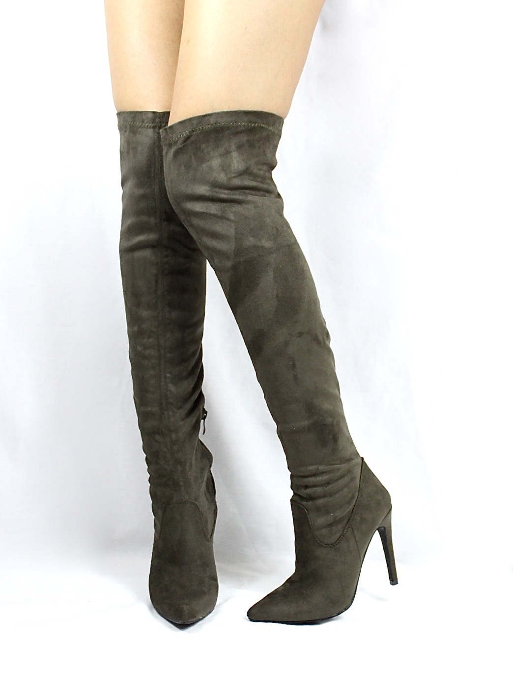 Pointy Toe Stiletto Heel Over The Knee Olive Thigh High Dress Boots-3561