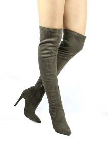 Pointy Toe Stiletto Heel Over The Knee Olive Thigh High Dress Boots-0