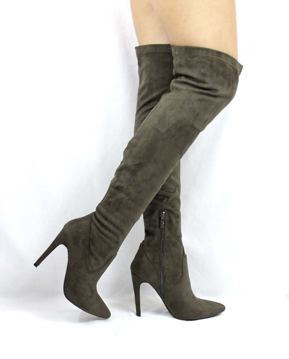 Pointy Toe Stiletto Heel Over The Knee Olive Thigh High Dress Boots-3563