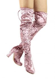 Yukio-1 Dusty Pink Velvet Round Toe Block Chunky Heel Thigh High Boots-0
