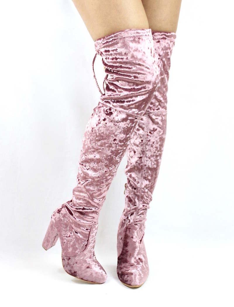 Yukio Dusty Pink Velvet Wowtrendz Chunky Heel Thigh