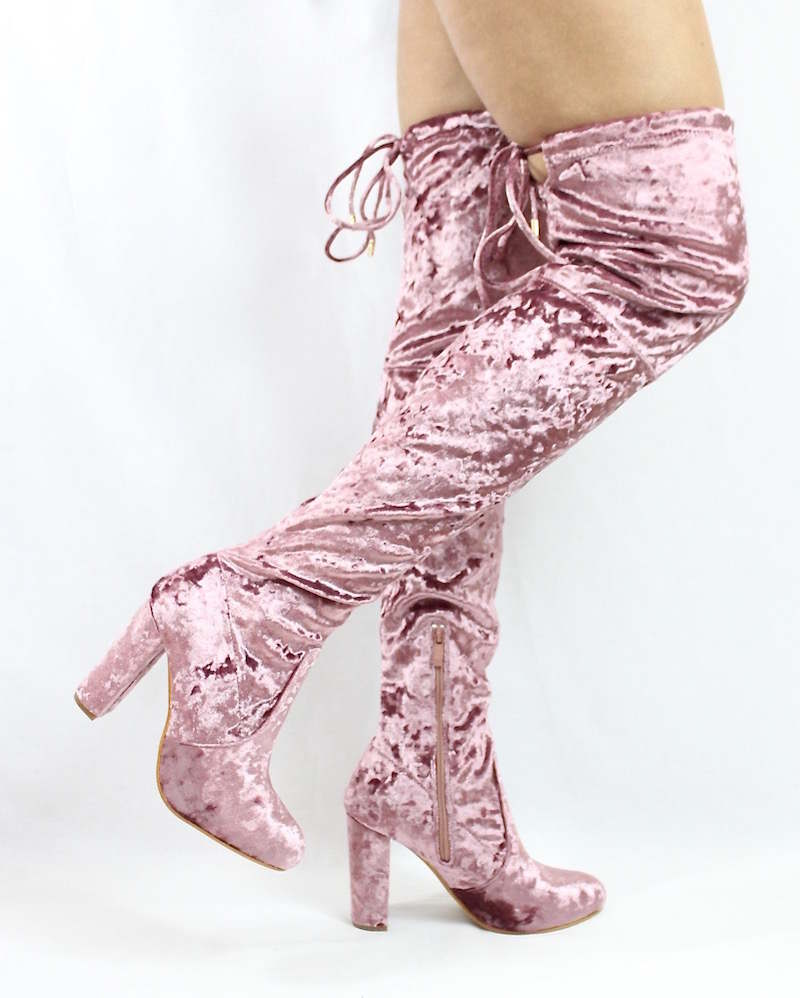 f8e81017c4e Yukio Dusty Pink Velvet Chunky Heel Thigh High Boots
