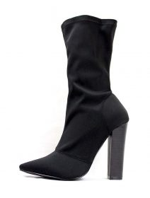 Shoe Republic Black Lycra Pointy Toe Chunky Heel Bootie-0