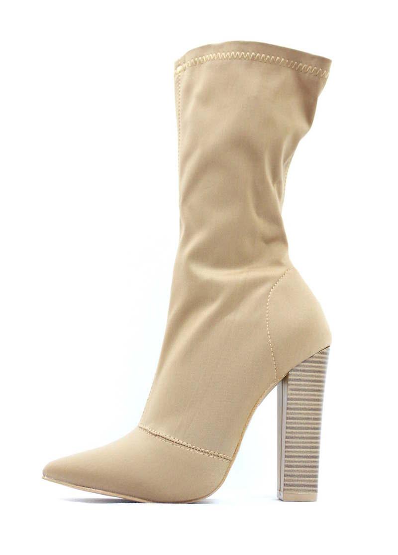 Shoe Republic Camel Lycra Pointy Toe Chunky Heel Bootie-0
