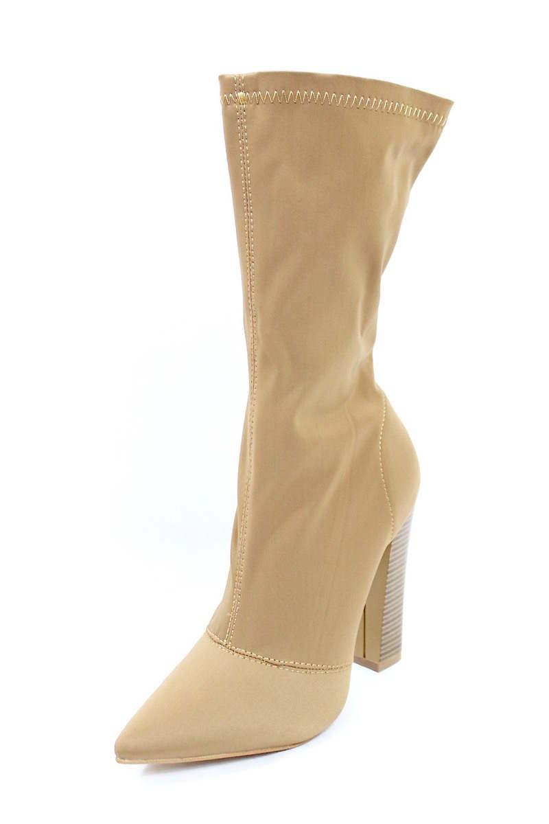 Shoe Republic Camel Lycra Pointy Toe Chunky Heel Bootie-4120
