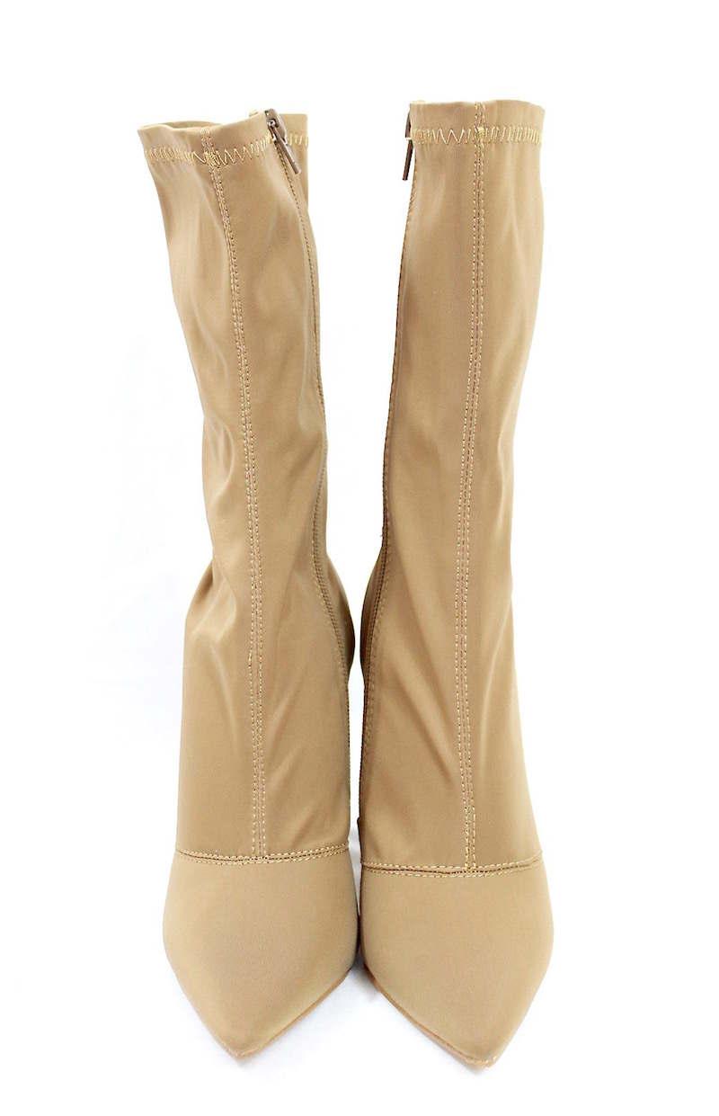 Shoe Republic Camel Lycra Pointy Toe Chunky Heel Bootie-4122