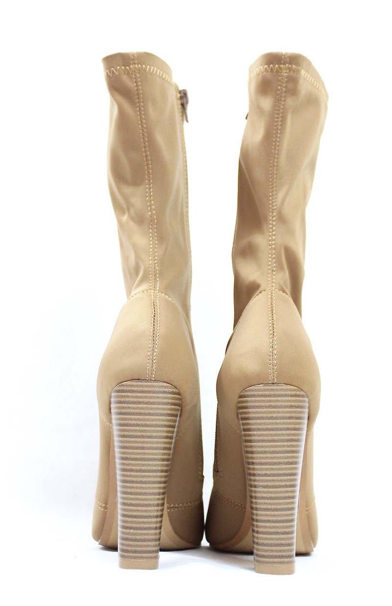 Shoe Republic Camel Lycra Pointy Toe Chunky Heel Bootie-4121