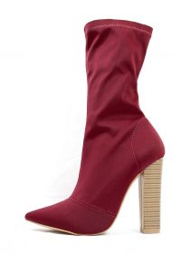 Shoe Republic Wine Lycra Pointy Toe Chunky Heel Bootie-0