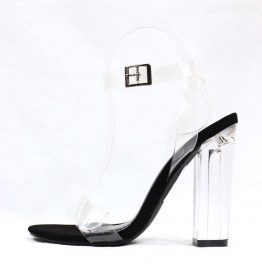 Shoe Republic Mazz Black Strappy Chunky Block Clear Lucite Perspex Heel Sandals-0