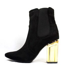 Round Toe Black Faux Suede Clear Perspex Lucite Heel Bootie-0