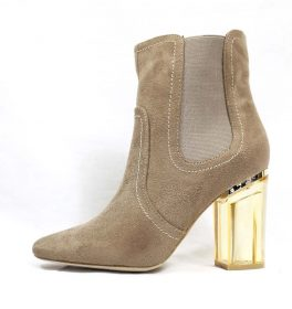 Round Toe Beige Faux Suede Clear Perspex Lucite Heel Bootie-0