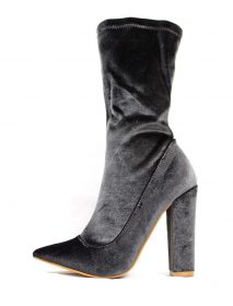 Shoe Republic Grey Velvet Pointy Toe Chunky Heel Bootie-0