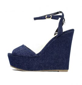 Liliana Anneka-24 Open Toe Platform Denim Wedge Sandals-0
