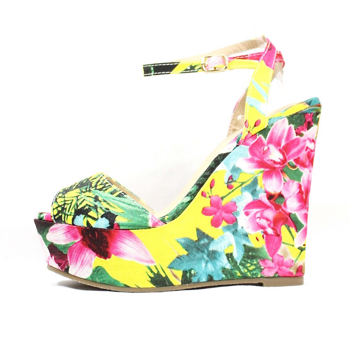 Liliana Anneka-24 Open Toe Platform Floral Wedge Sandals-0